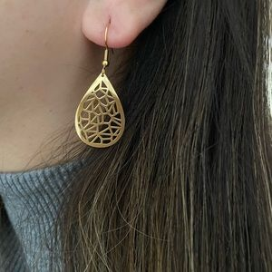 Teardrop Shaped Gold Mandala Earrings , Boho Look